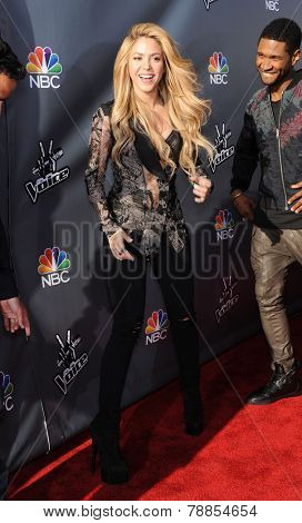 LOS ANGELES - APR 03:  Shakira arrives to the 'The Voice Celebrtaes Season 5  on April 03, 2014 in Hollywood, CA