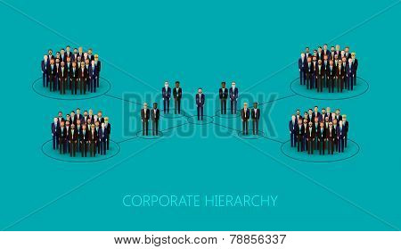 vector flat illustration of a corporate hierarchy structure. a crowd of business men or politicians