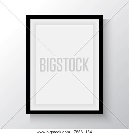 Black frame for paintings or photographs on the wall.