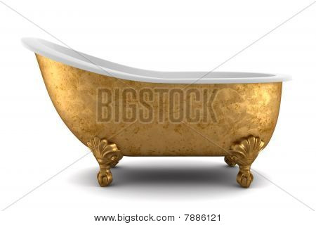 classic bathtub isolated on white background with clipping path