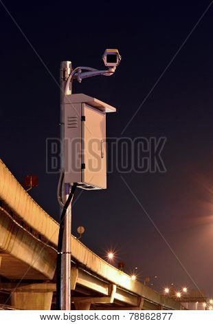 Cctv Cameras Are Working At Night Area Freeways