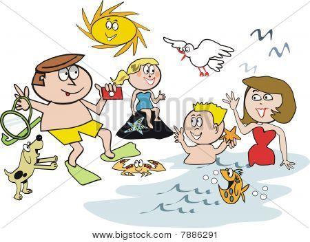 Family snorkel cartoon