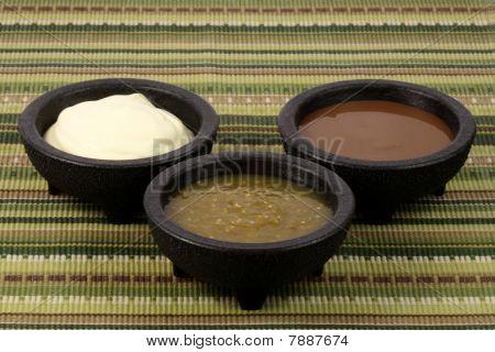 Salsa Verde,salsa Roja And Sour Cream