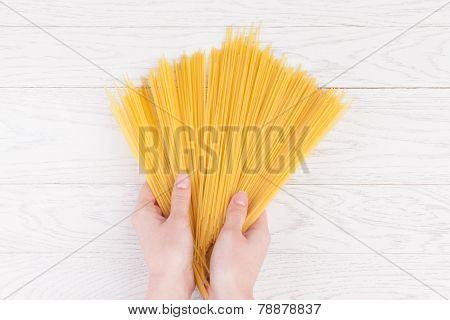 Italian Spaghetti In Female Hands