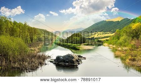 Forest River With Stones And Grass At Sunrise