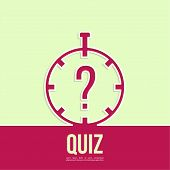 Timer with a question. Quiz. The concept is the question the answer. Outline. poster