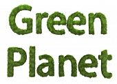 Isolated 3D render of a Geen Planet text made from grass poster