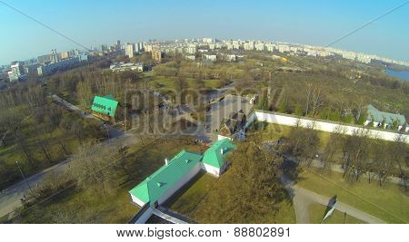 Cityscape with Royal Fodder Yard in museum preserve Kolomenskoe, aerial view