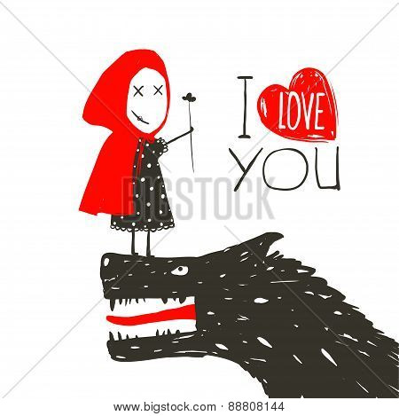 Little Red Riding Presenting Flower to Black Wolf