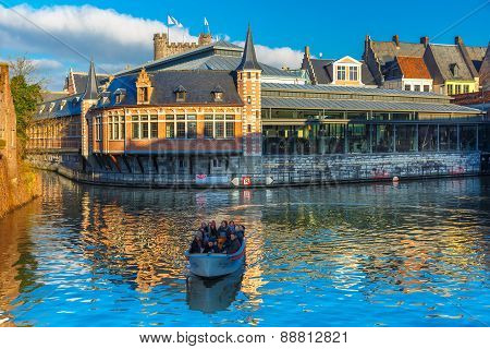 Tourist boat on the river Leie, Ghent, Belgium