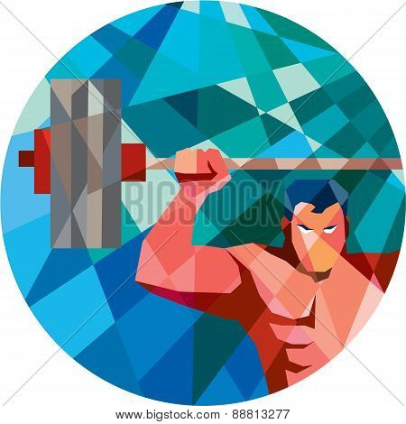 Weightlifter Snatch Grab Lifting Barbell Low Polygon