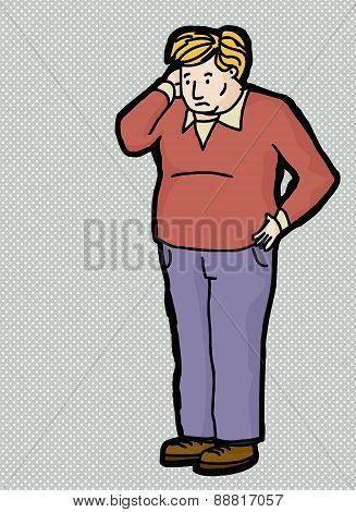 Perplexed Man Cartoon