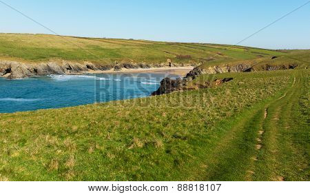 South West Coast Path Porth Joke beach next to Crantock bay Cornwall England UK near Newquay