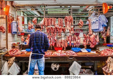 Butcher's Shop In Hong Kong, China