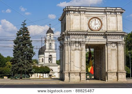 Triumphal Arch at Great National Assembly Square, Chisinau, Moldova
