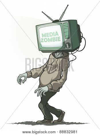 Media zombie with a Tv instead of a head. Isolated