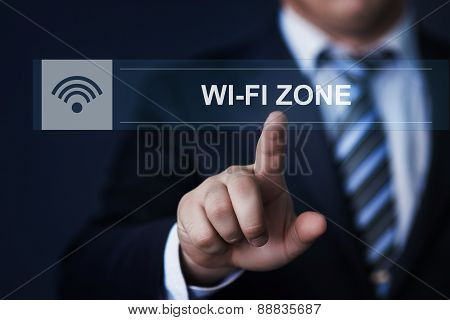 businessman pressing button virtual screens