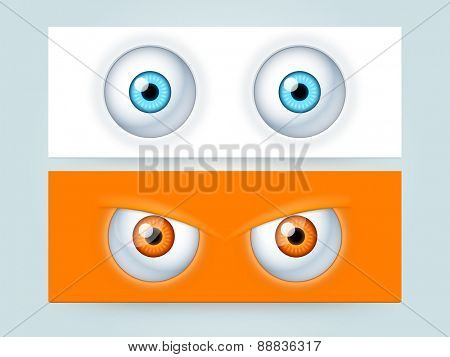 Website header or banner set with scary monster eyes.