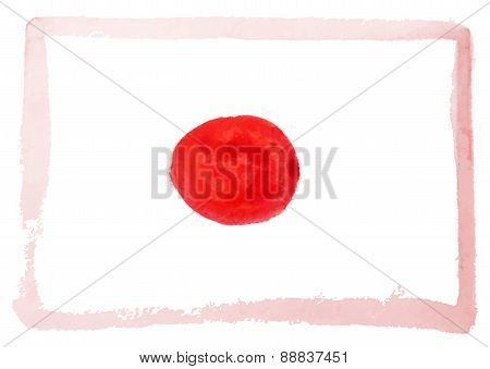 Abstract Watercolor Flag Of Japan, Vector