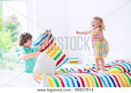 Kids Having Pillow Fight
