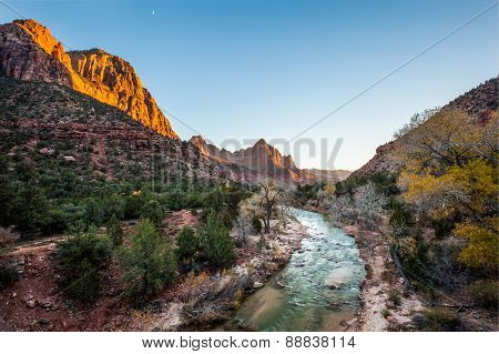 Beautiful Iconic Scene Of The Watchman At Sunset, Zion National Park, Utah