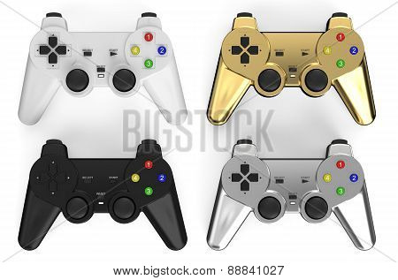 Set Of Colored Gamepads