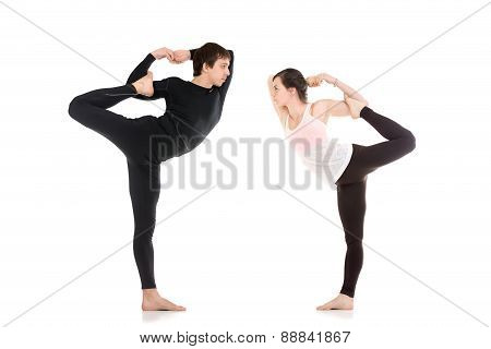 Lord Of The Dance Yoga Pose In Pair