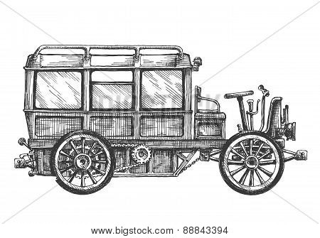 retro bus, car, on a white background. sketch