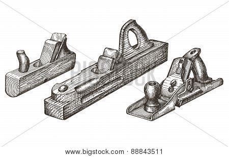 joinery. retro tools on a white background. sketch