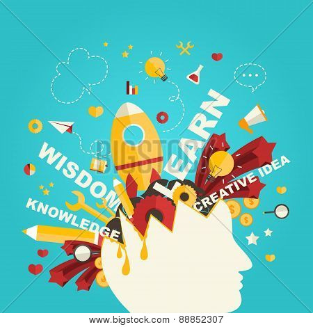 Knowledge And Creativity Icons Flow From A Man Head In Infographic Design, Create By Vector