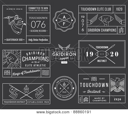 American Football Badges And Crests Vol 1 White On Black