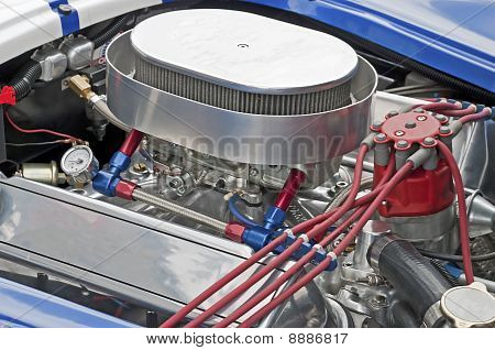 High performance 429 cu-in V8 engine - Partial top view poster