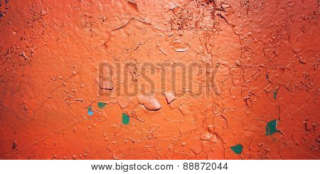 Cracked Paint On Concreat Surface - Vintage Photo.