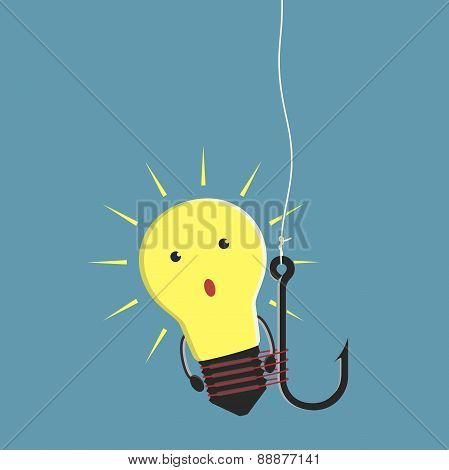 Lightbulb Character On Fishhook
