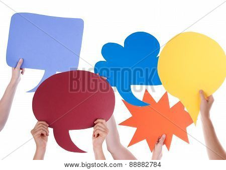 Many Blank Empty Speech Balloons With Copy Space