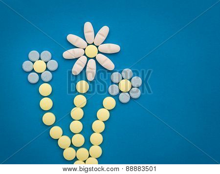 pills on the blue background