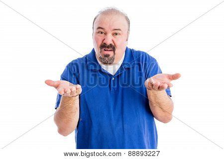 Man Shrugging His Shoulders And Gesticulating