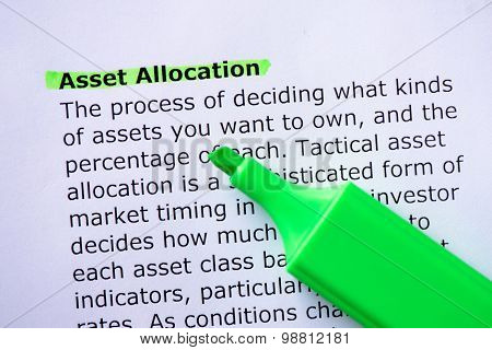 Asset Allocation words highlighted on the white background poster