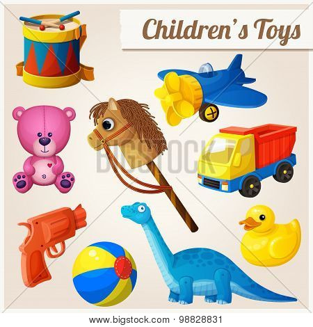Set of kid's toys. Cartoon vector illustration.