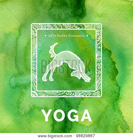 Yoga poster with dog in a yoga pose.
