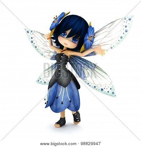 Cute toon fairy wearing blue flower dress with flowers in her hair posing on a white isolated backgr