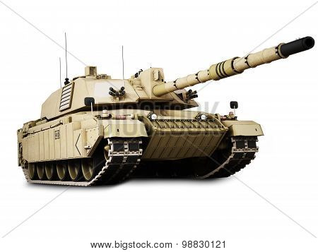 Military armored tank isolated on a white background.