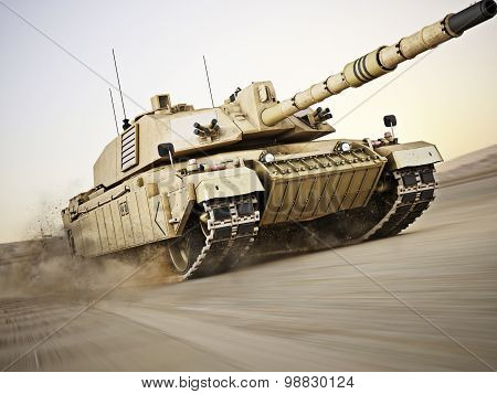 Military armored tank moving at a high rate of speed