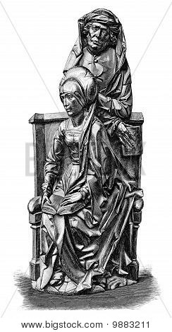 A rather stern looking couple in a church pew. Woodcut woodblock print of what I believe to be a sculpture by Tilman Riemenschneider. One of the most important sculptors in the transition from late the late Gothic to the Renaissance. (c. 1460 to 1531). Th poster