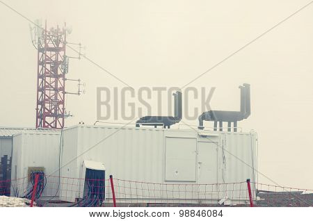 Telecommunication tower and diesel generator