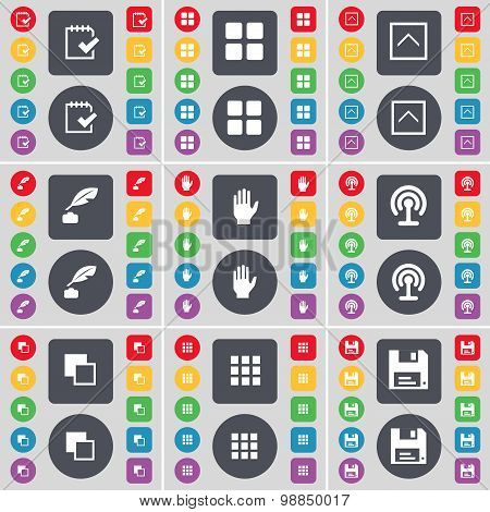 Survey, Apps, Arrow Up, Inkpot, Hand, Wi-fi, Copy, Floppy Icon Symbol. A Large Set Of Flat, Colored