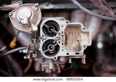 Dirty rusty carburetor of old russian car