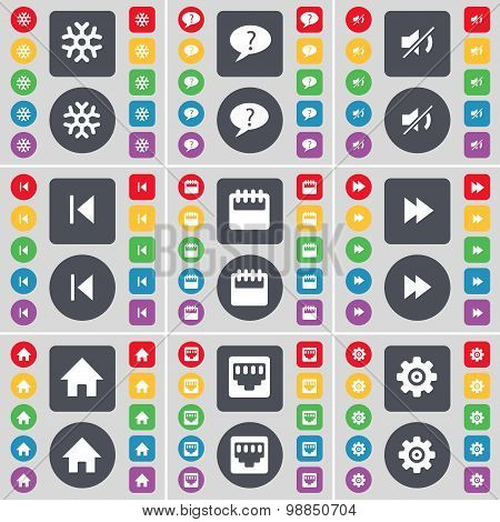 Snowflake, Chat Bubble, Mute, Media Skip, Camera, Rewind, House, Lan Socket, Gear Icon Symbol. A Lar