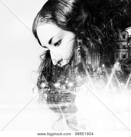 Double exposure of beautiful girl and  city lights at night, black and white toning