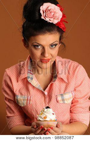 Pin Up Girl With CupCake
